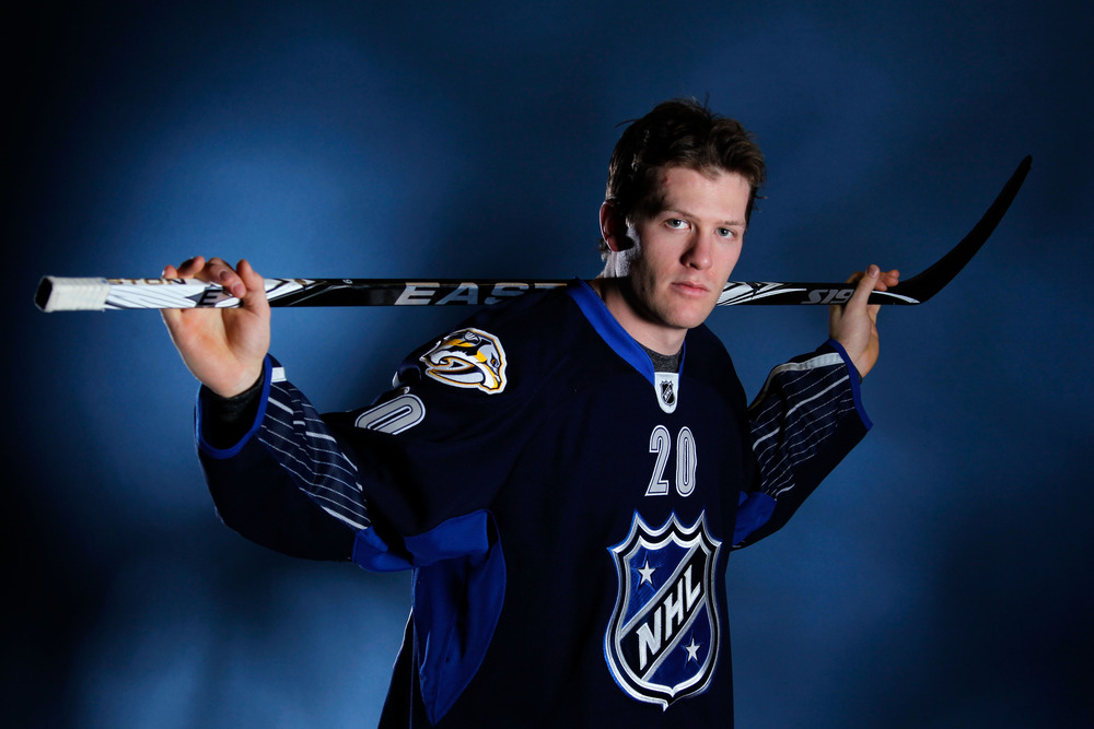 OTTAWA, ON - JANUARY 29:  Ryan Suter #20 of the Nashville Predators and Team Chara poses prior to the 2012 NHL All-Star Game at Scotiabank Place on January 29, 2012 in Ottawa, Ontario, Canada.  (Photo by Gregory Shamus/Getty Images)