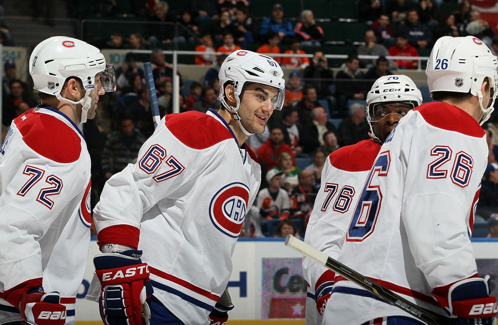 Max Pacioretty celebrates his first goal of the game against the New York Islanders on February 9th.  He'd go on to score 2 more for the HT.  Pacioretty has an amazing 11 goals in his last 13 games.