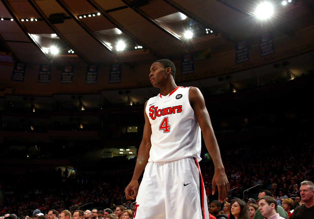 NEW YORK, NY - FEBRUARY 18:  Moe Harkless #4 of the St. John's Red Storm looks on against the UCLA Bruins at Madison Square Garden on February 18, 2012 in New York City.  (Photo by Chris Chambers/Getty Images)