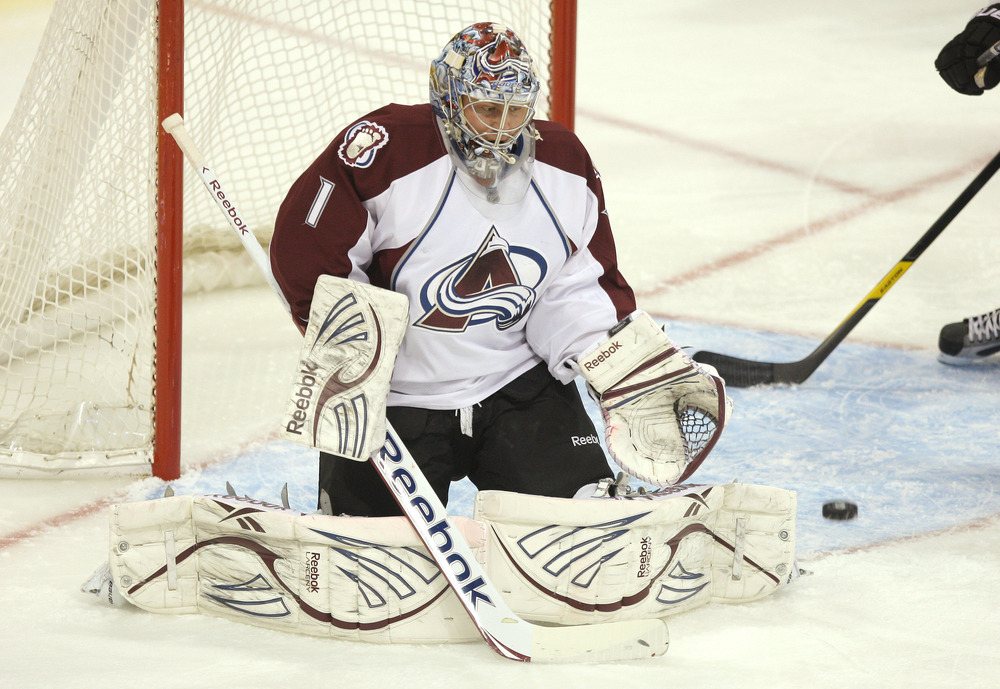 WINNIPEG, CANADA - FEBRUARY 19: Semyon Varlamov #1 of the Colorado Avalanche makes a save during their NHL game against the Winnipeg Jets at MTS Centre on February 19, 2012 in Winnipeg, Manitoba, Canada. (Photo by Tom Szczerbowski/Getty Images)