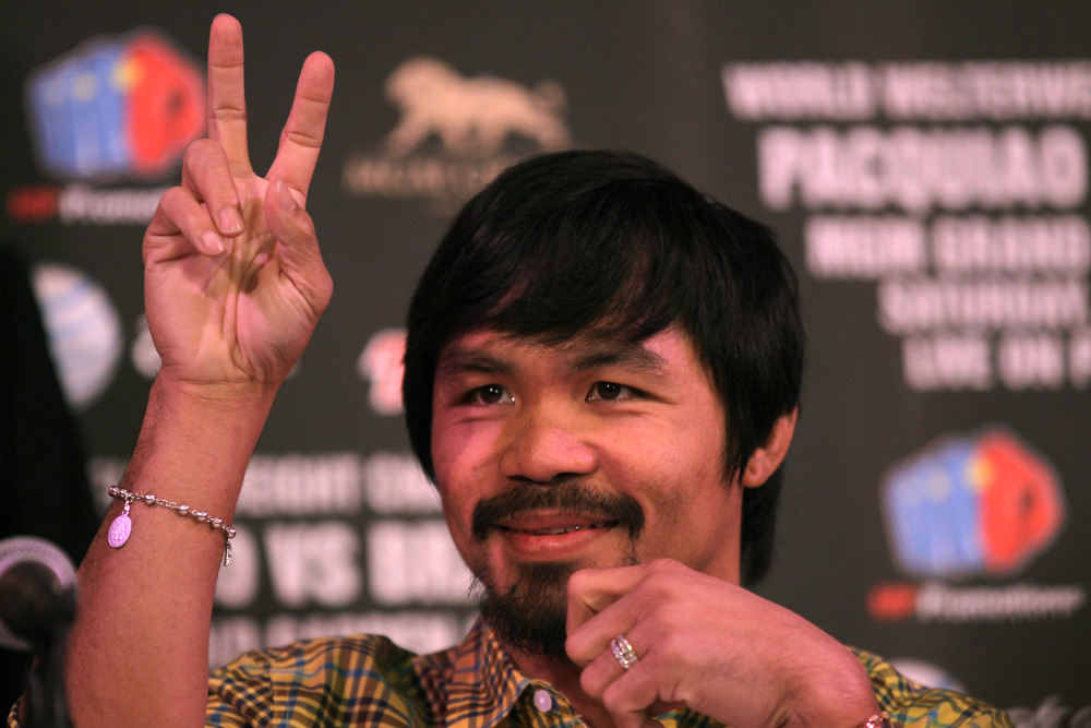 Manny Pacquiao didn't add much flavor to his HBO Face Off with Timothy Bradley. (Photo by Stephen Dunn/Getty Images)