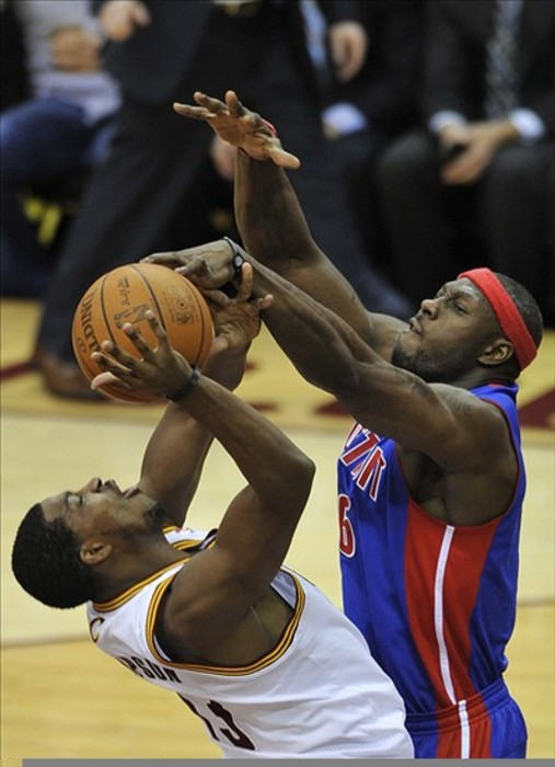 Feb 121, 2012; Cleveland, OH, USA; Detroit Pistons center Ben Wallace (6) blocks a shot attempt by Cleveland Cavaliers forward Tristan Thompson (13) in the fourth quarter at Quicken Loans Arena. Mandatory Credit: David Richard-US PRESSWIRE