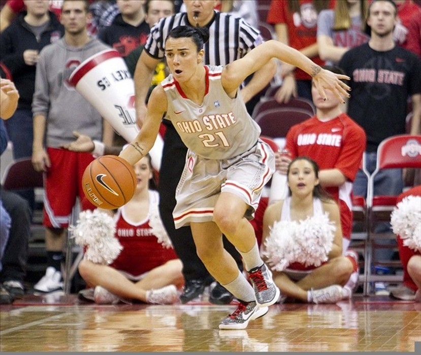 February 24, 2012; Columbus, OH, USA; Ohio State Buckeyes guard Samantha Prahalis (21) drives the ball up the court against the Minnesota Golden Gophers at Value City Arena. Ohio State won the game 81-56. Mandatory Credit: Greg Bartram-US PRESSWIRE