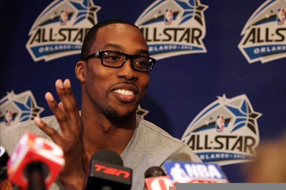 February 24, 2012; Orlando FL, USA;  Eastern Conference center Dwight Howard (12) of the Orlando Magic during the East all-stars press conference at the Hilton Orlando. Mandatory Credit: Kim Klement-US PRESSWIRE