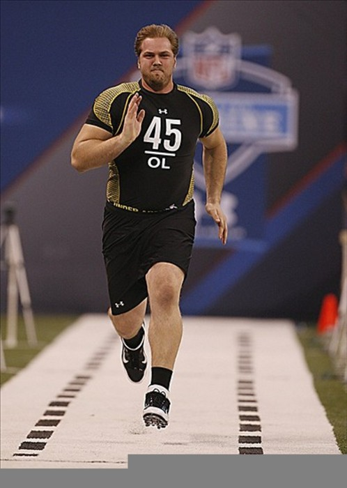 Feb 25, 2012; Indianapolis, IN, USA; California Bears offensive lineman Mitchell Schwartz runs the 40 yard dash during the NFL Combine at Lucas Oil Stadium. Mandatory Credit: Brian Spurlock-US PRESSWIRE