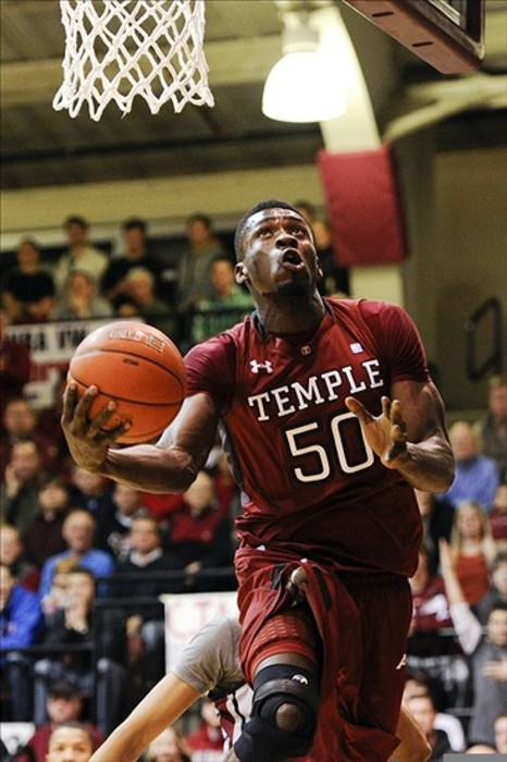 Feb 25, 2012; Philadelphia, PA, USA; Temple Owls center Micheal Eric (50) shoots during the first half against the Saint Joseph's Hawks at Hagan Arena. Mandatory Credit: Howard Smith-US PRESSWIRE