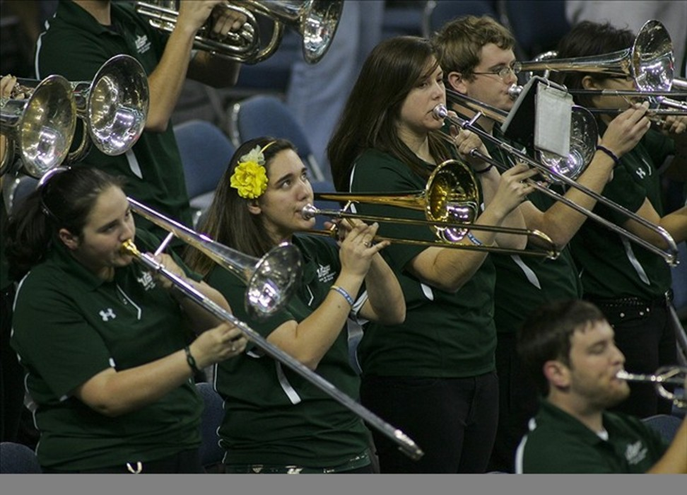 """Feb 26, 2012; Tallahassee, FL, USA; The South Florida Bulls """"Herd of Thunder"""" band performs in the first half of their game against the Cincinnati Bearcats at the Tampa Bay Times Forum. The Bulls won 46-45. Mandatory Credit: Phil Sears-US PRESSWIRE"""