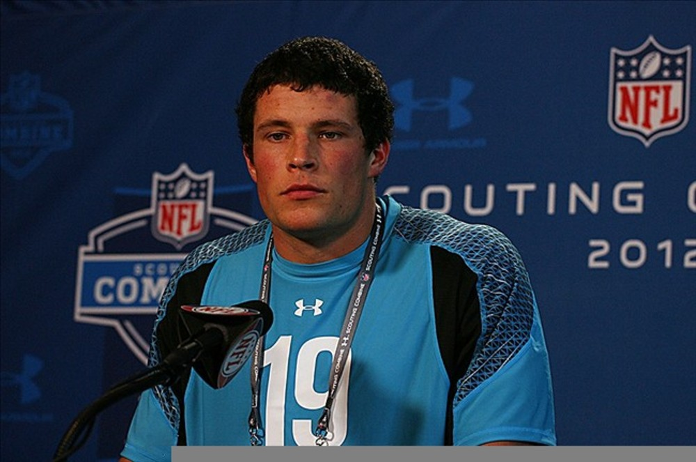 Feb 26, 2012; Indianapolis, IN, USA; Boston College linebacker Luke Kuechly speaks at a press conference during the NFL Combine at Lucas Oil Stadium. Mandatory Credit: Brian Spurlock-US PRESSWIRE