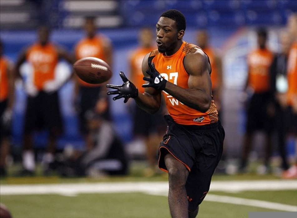 Feb 26, 2012; Indianapolis, IN, USA; Appalachian State wide receiver Brian Quick participates in a catch and run drill during the NFL Combine at Lucas Oil Stadium. Mandatory Credit: Brian Spurlock-US PRESSWIRE
