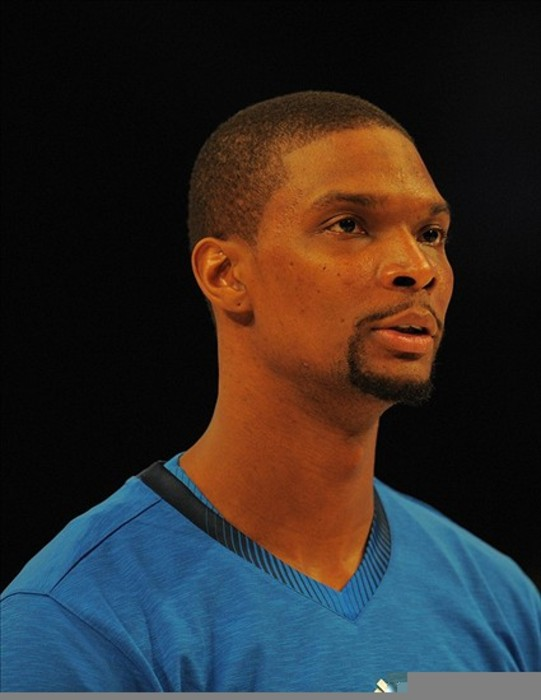 Feb 26, 2012; Orlando, FL, USA;  Eastern Conference forward Chris Bosh (1) of the Miami Heat prior to the star of the 2012 NBA All-Star Game at the Amway Center. Mandatory Credit: Bob Donnan-US PRESSWIRE