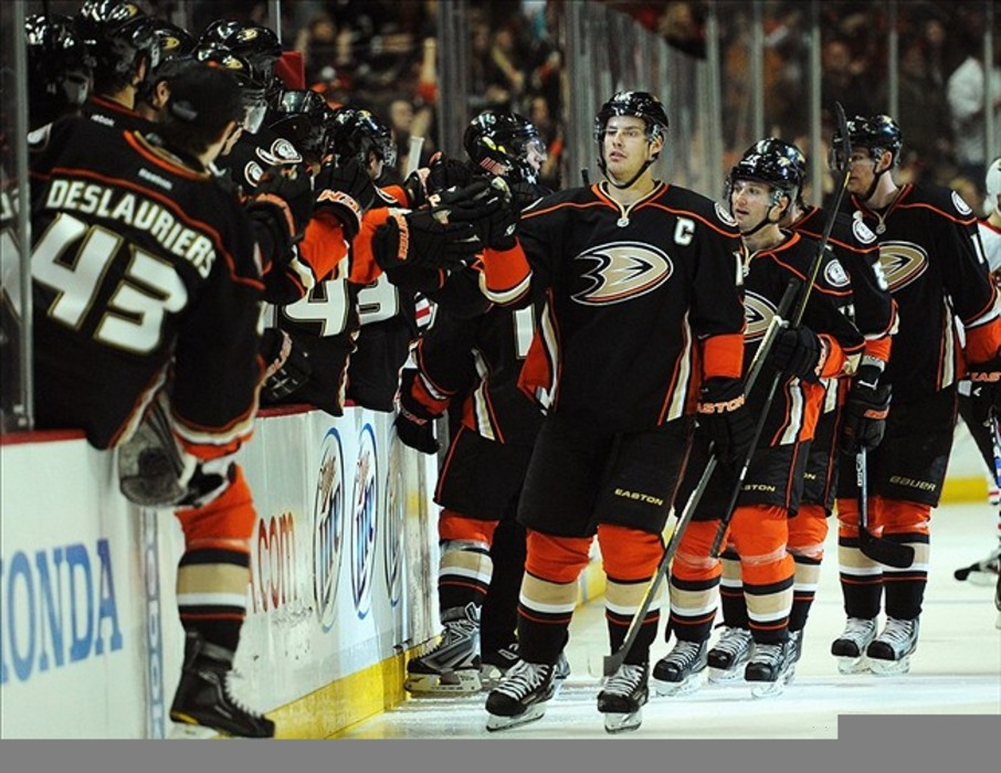 February 26, 2012; Anaheim, CA, USA; Anaheim Ducks celebrate after a goal by right wing Teemu Selanne (8) against the Chicago Blackhawks during the third period at the Honda Center. The Anaheim Ducks win 3-1. Mandatory Credit: Kelvin Kuo-US PRESSWIRE