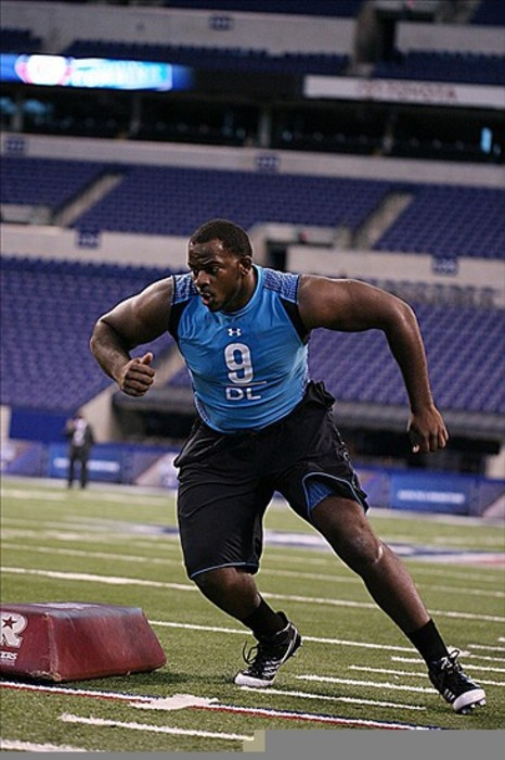 Feb 27, 2012; Indianapolis, IN, USA; Mississippi State defensive lineman Fletcher Cox does a footwork drill during the NFL Combine at Lucas Oil Stadium. Mandatory Credit: Brian Spurlock-US PRESSWIRE
