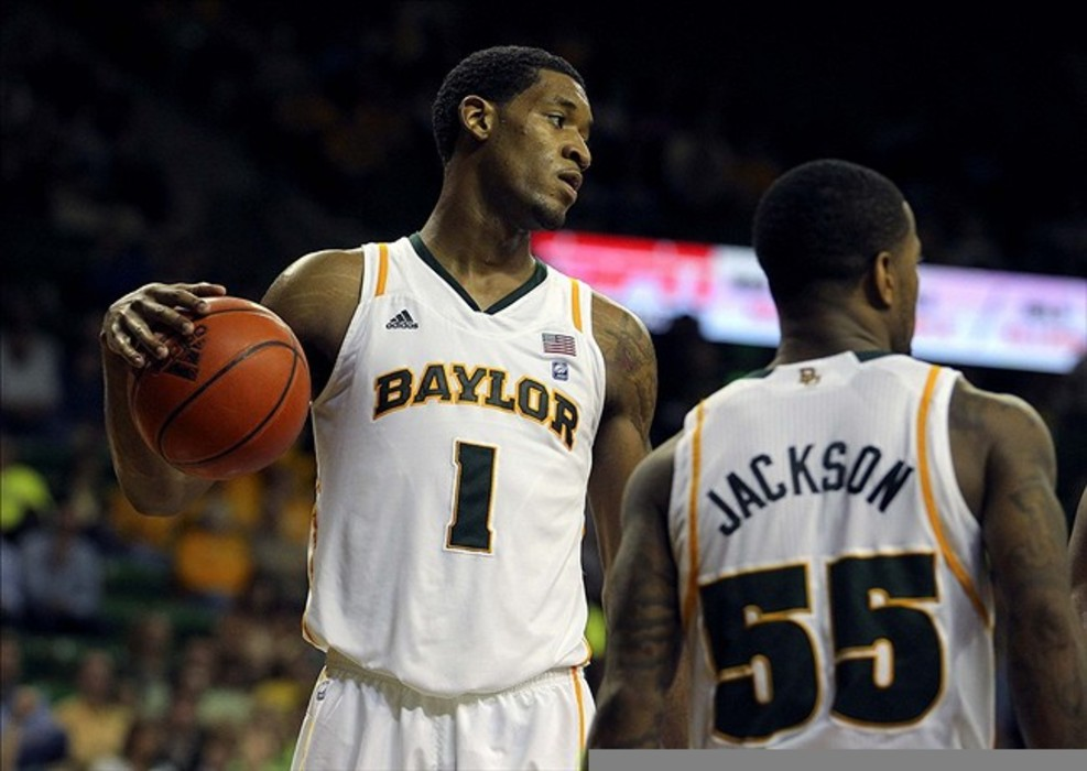 Feb 27, 2012; Waco, TX, USA; Baylor Bears forward Perry Jones III (1) reacts to a foul call during the second half against the Texas Tech Red Raiders at the Ferrell Center.  Baylor won 77-48. Mandatory Credit: Kevin Jairaj-US PRESSWIRE