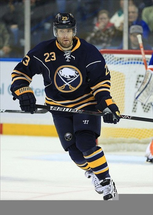 Feb 21, 2012; Buffalo, NY, USA; Buffalo Sabres center Ville Leino (23) during the game against the New York Islanders at the First Niagara Center. Sabres beat the Islanders 2-1. Mandatory Credit: Kevin Hoffman-US PRESSWIRE