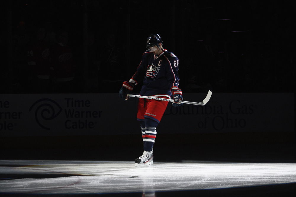 COLUMBUS, OH - FEBRUARY 28:  Rick Nash #61 of the Columbus Blue Jackets takes the ice before the game against the Detroit Red Wings at Nationwide Arena on February 28, 2012 in Columbus, Ohio.  (Photo by John Grieshop/Getty Images)