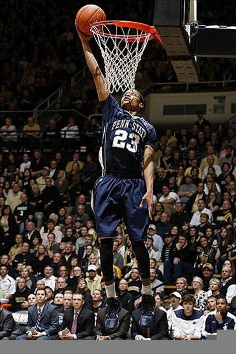 Feb 29, 2012; West Lafayette, IN, USA; Penn State Nittany Lions guard Tim Frazier dunks against the Purdue Boilermakers at Mackey Arena. Purdue defeats Penn State 80-56.  Mandatory Credit: Brian Spurlock-US PRESSWIRE