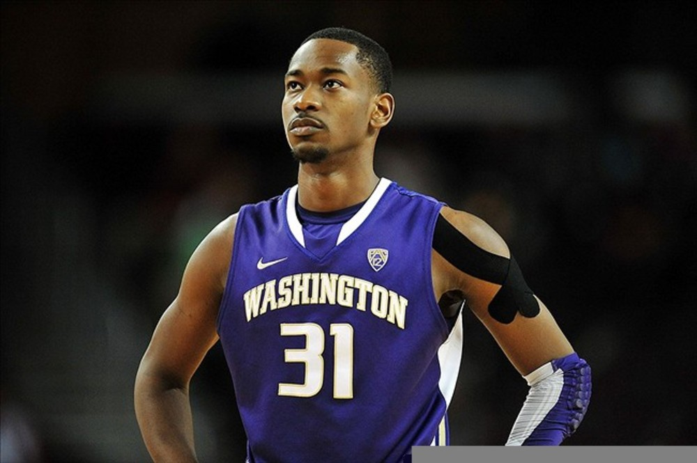 March 1, 2012; Los Angeles, CA, USA; Washington Huskies guard Terrence Ross (31) during a stoppage in play against the Southern California Trojans during the second half at Galen Center. Mandatory Credit: Gary A. Vasquez-US PRESSWIRE