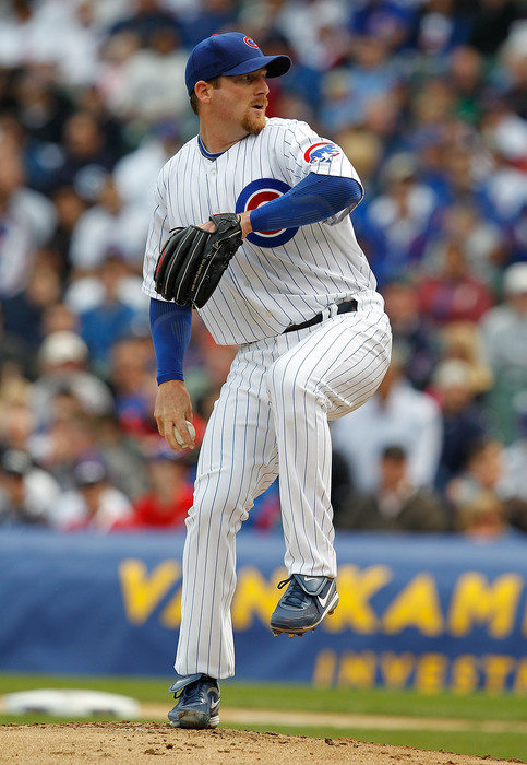 CHICAGO - APRIL 12: Starting pitcher Ryan Dempster #46 of the Chicago Cubs delivers the ball against the Milwaukee Brewers on Opening Day at Wrigley Field on April 12, 2010 in Chicago, Illinois. (Photo by Jonathan Daniel/Getty Images)