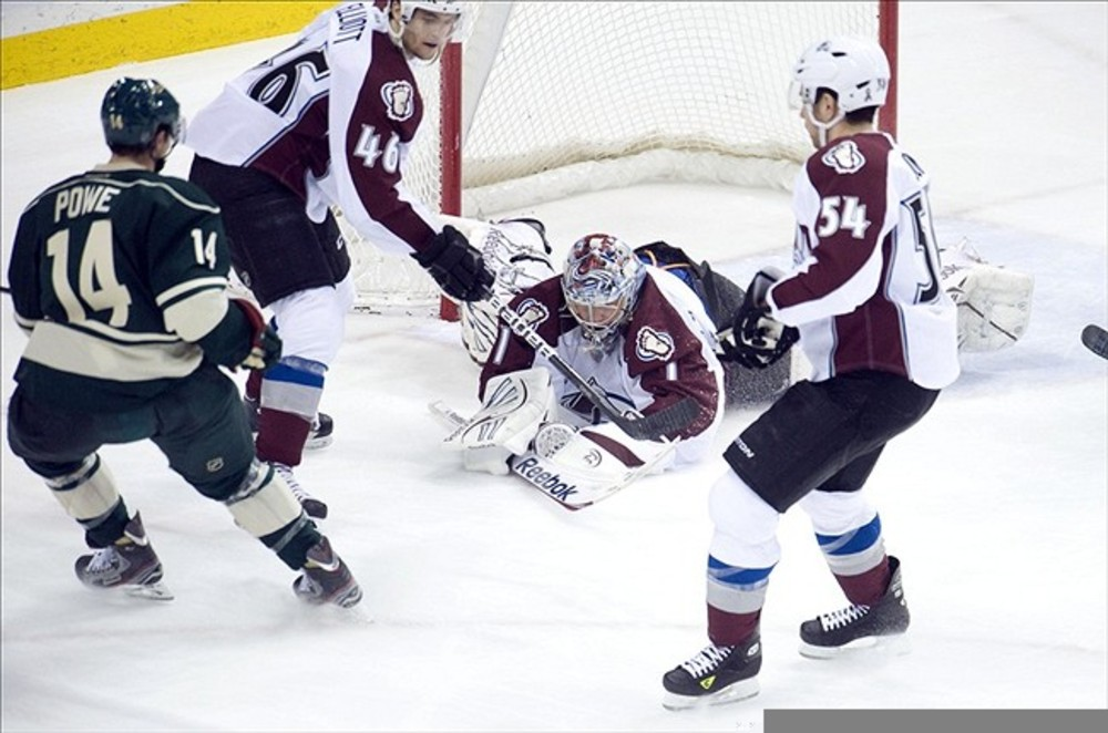 MAR 4, 2012; St. Paul, MN, USA;  Colorado Avalanche goalie Semyon Varlamov (1) covers up the puck in the first period against the Minnesota Wild at Xcel Energy Center.   Mandatory Credit: Marilyn Indahl-US PRESSWIRE