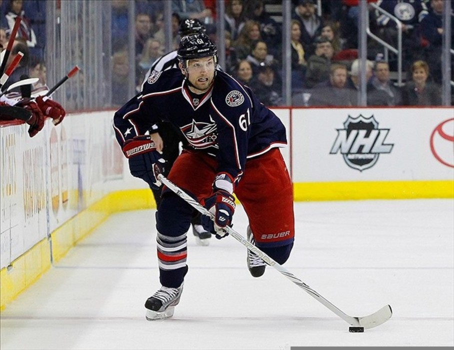 March 6, 2012; Columbus, OH, USA; Columbus Blue Jackets left wing Rick Nash (61) carries the puck against the Phoenix Coyotes during the second period at Nationwide Arena. Mandatory Credit: Russell LaBounty-US PRESSWIRE