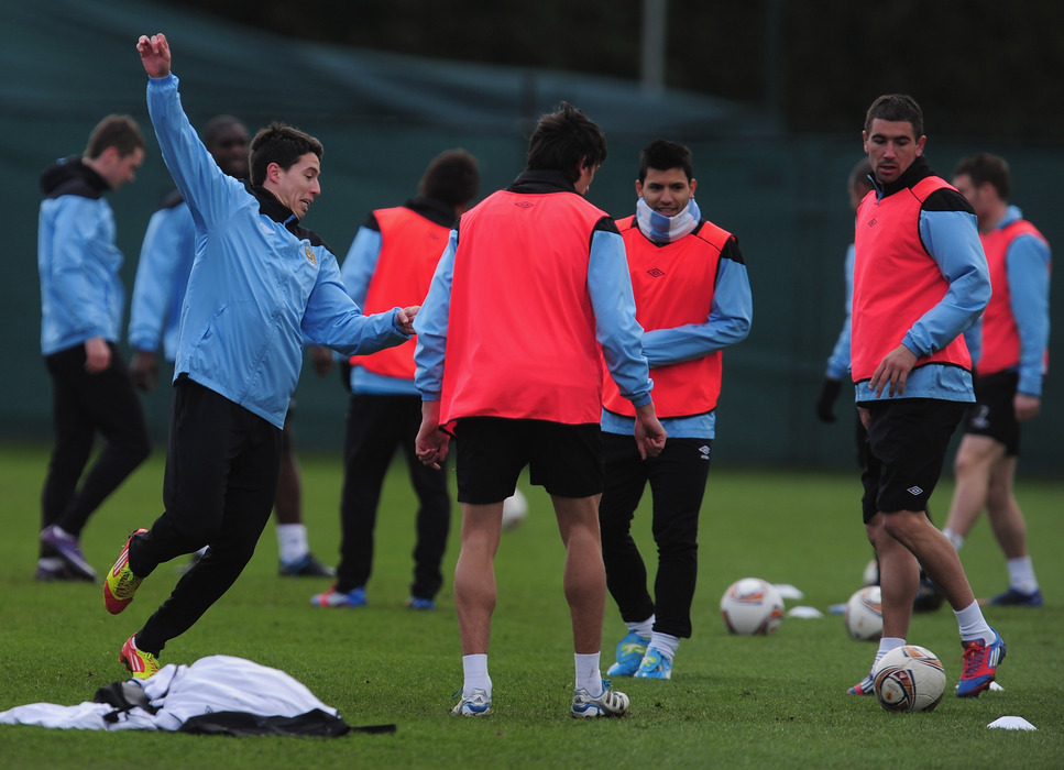 MANCHESTER, ENGLAND - MARCH 07:  Samir Nasri of Manchester City in action during a Manchester City training session at Carrington Training Ground on March 7, 2012 in Manchester, England.  (Photo by Jamie McDonald/Getty Images)