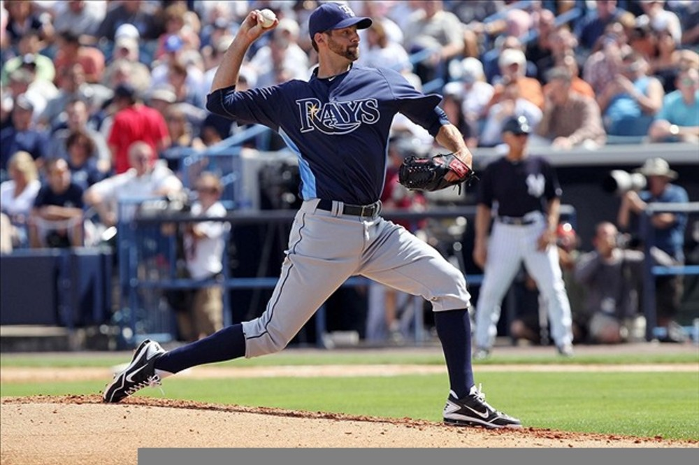 March 7, 2012; Tampa, FL, USA; Tampa Bay Rays pitcher Burke Badenhop (31) throws a pitch in the third inning against the New York Yankees during spring training at George M. Steinbrenner Field. Mandatory Credit: Kim Klement-US PRESSWIRE