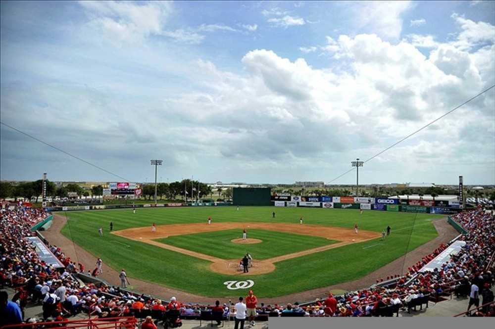 March 07, 2012; Melbourne, FL, USA;   A general view of the stadium during the spring training game between the Washington Nationals and the St. Louis Cardinals at Space Coast Stadium. Mandatory Credit: Brad Barr-US PRESSWIRE