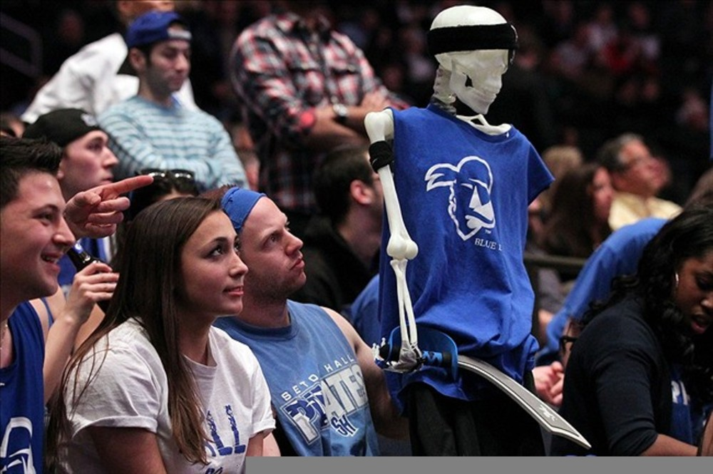 Mar 7, 2012; New York, NY, USA; Seton Hall Pirates fans during the first half of the second round against the Louisville Cardinals at the Big East Tournament held at Madison Square Garden.  Mandatory Credit: Anthony Gruppuso-US PRESSWIRE
