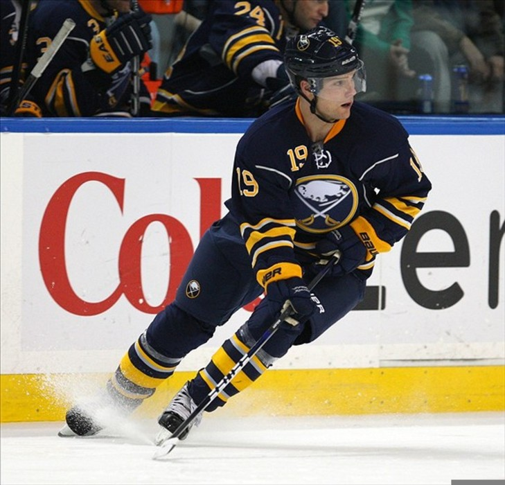 Mar 7, 2012; Buffalo, NY, USA;  Buffalo Sabres center Cody Hodgson (19) during the second period against the Carolina Hurricanes at the First Niagara Center.  Mandatory Credit: Timothy T. Ludwig-US PRESSWIRE