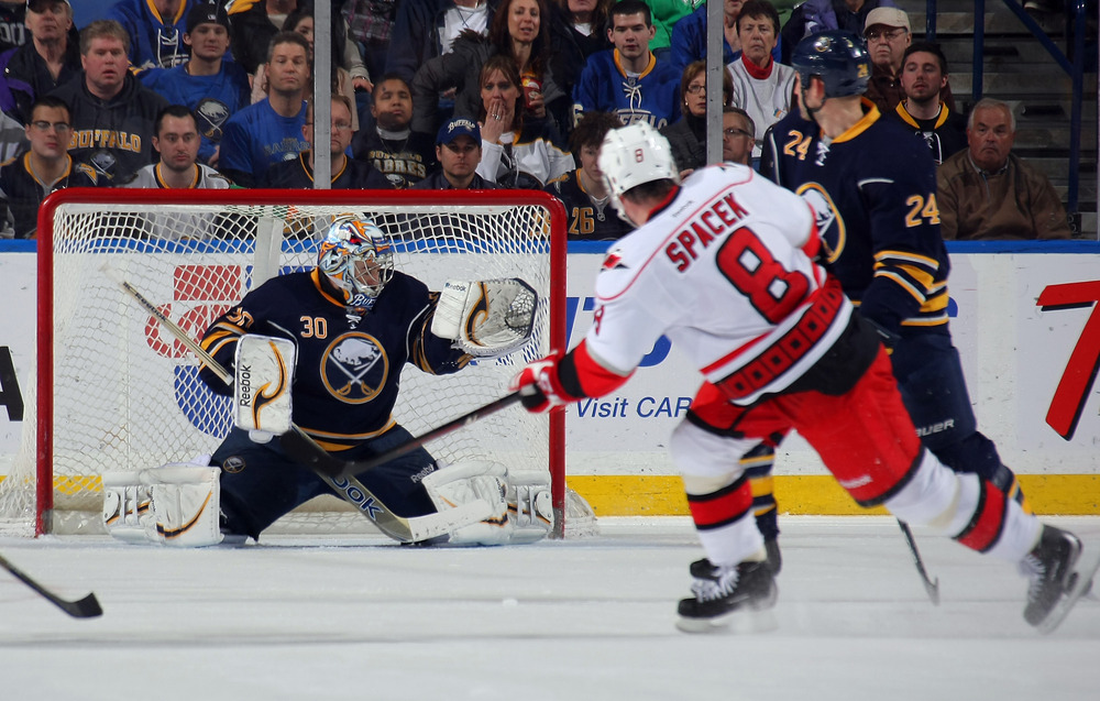 BUFFALO, NY - MARCH 7:  Spacek scores a goal against one of his seven former teams.  (Photo by Dave Sandford/Getty Images)