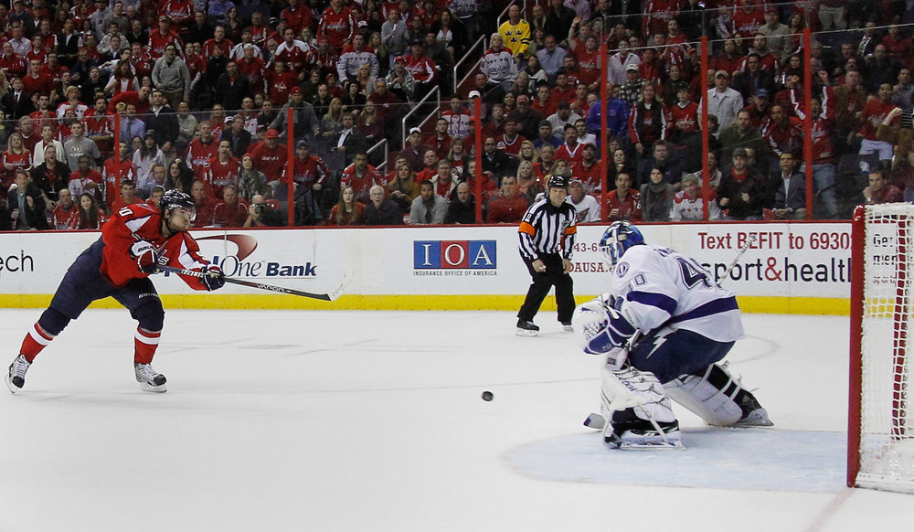 """WASHINGTON, DC - """"Uh...guys? Guys?!?"""".  Dustin Tokarski gets a taste of playing behind NHL defense, 2011-12 Tampa Bay Lightning style. (Photo by Rob Carr/Getty Images)"""