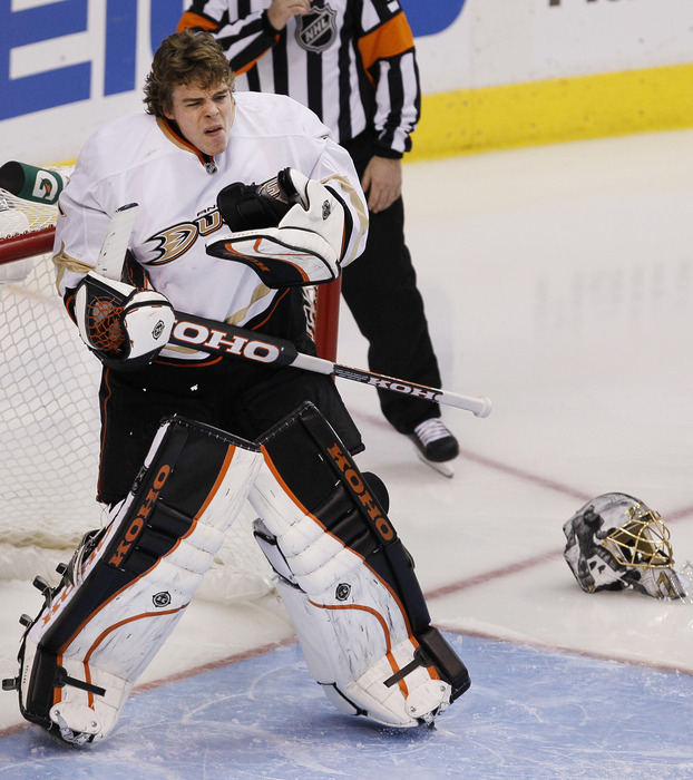 DALLAS, TX - MARCH 10: Who let Jonas Hiller out of the clock tower to terrorize civilians? (Photo by Brandon Wade/Getty Images)