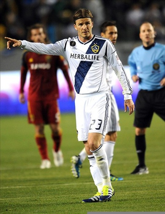 March 10, 2012; Carson, CA, USA;  Los Angeles Galaxy midfielder David Beckham (23) during the first half of the game against the Real Salt Lake at The Home Depot Center. The Galaxy won 3-0. Mandatory Credit: Jayne Kamin-Oncea-US PRESSWIRE