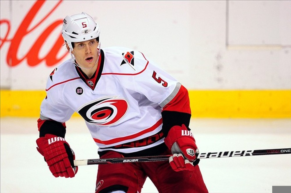March 11, 2012: Sunrise, FL, USA; Carolina Hurricanes defenseman Bryan Allen (5) during the third period against the Florida Panthers at the BankAtlantic Center. Panthers won 2-0. Mandatory Credit: Steve Mitchell-US PRESSWIRE