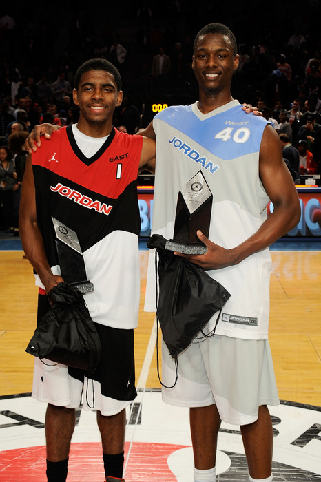 NEW YORK - APRIL 17:  Kyrie Irving #1 and Harrison Barnes #40 pose after the National Game at the 2010 Jordan Brand classic at Madison Square Garden on April 17, 2010 in New York City.  (Photo by Larry Busacca/Getty Images for Jordan Brand Classic)