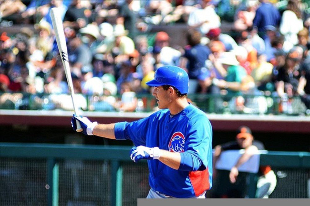 Mar 13, 2012; Scottsdale, AZ, USA; Chicago Cubs first baseman Anthony Rizzo (44) during an at bat in the seventh inning against the San Francisco Giants at Scottsdale Stadium.  Mandatory Credit: Jake Roth-US PRESSWIRE