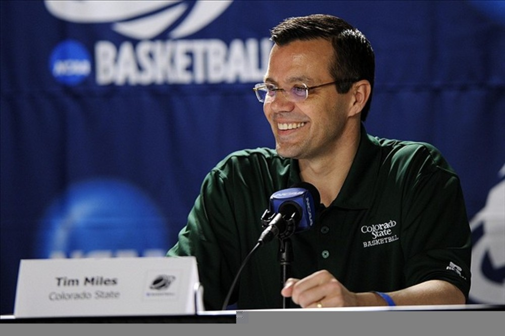 Mar 14, 2012; Louisville, KY, USA; Colorado State Rams head coach Tim Miles speaks during a press conference for the second round of the 2012 NCAA men's basketball tournament at the KFC Yum! Center.  Mandatory Credit: Jamie Rhodes-US PRESSWIRE