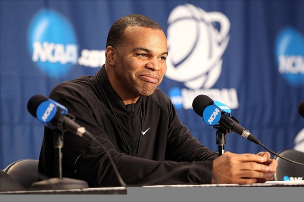 Mar 14, 2012; Albuquerque, NM, USA; Harvard Crimson head coach Tommy Amaker at a news conference during practice for the second round of the 2012 NCAA men's basketball tournament at the Pit.  Mandatory Credit: Nelson Chenault-US PRESSWIRE