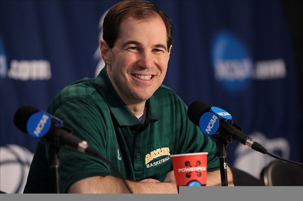 Mar 14, 2012; Albuquerque, NM, USA; Baylor Bears head coach Scott Drew at a news conference during practice for the second round of the 2012 NCAA men's basketball tournament at the Pit.  Mandatory Credit: Nelson Chenault-US PRESSWIRE