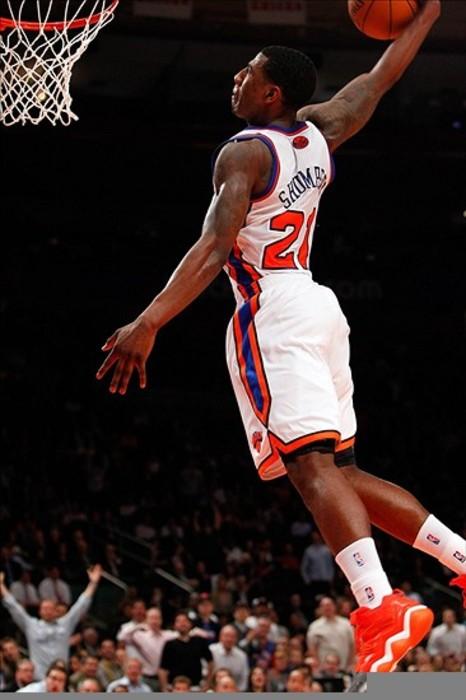 Mar. 14, 2012; New York, NY, USA; New York Knicks guard Iman Shumpert (21) dunks during the second half against the Portland Trail Blazers at Madison Square Garden.  Knicks won 121-79. Mandatory Credit: Debby Wong-US PRESSWIRE