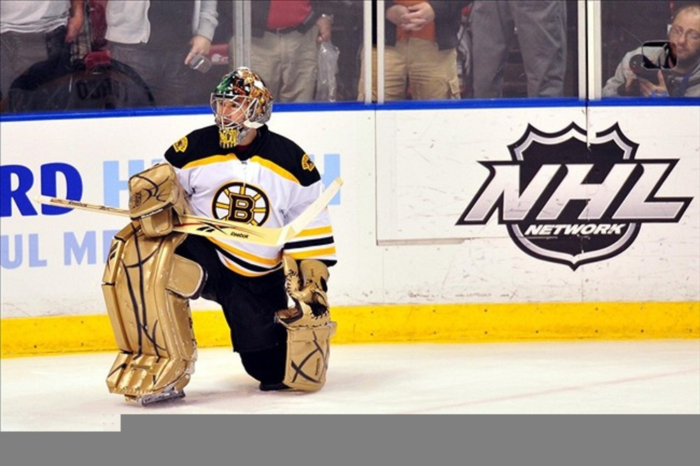 March 15, 2012: Sunrise, FL, USA; Boston Bruins goalie Tim Thomas (30) before a game against the Florida Panthers at the BankAtlantic Center. Mandatory Credit: Steve Mitchell-US PRESSWIRE