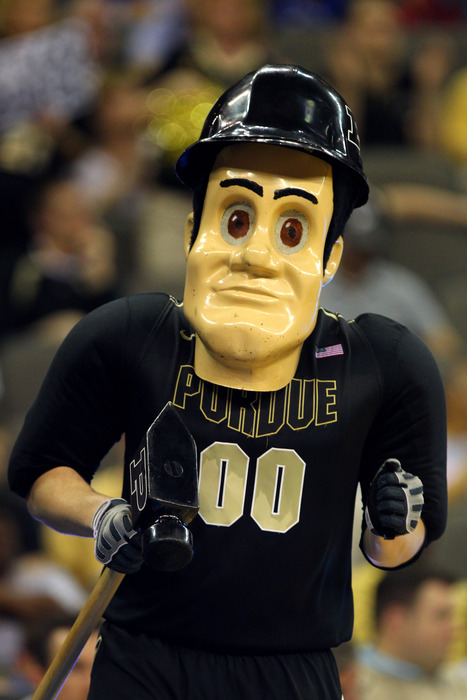 """Purdue Pete elected not to """"Call Me, Maybe"""" when invited by Herbie Husker and Sparty to remake Carly Rae Jepsen's video.  (Photo by Doug Pensinger/Getty Images)"""