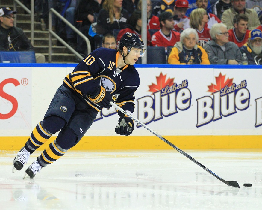 Mar 12, 2012; Buffalo, NY, USA; Buffalo Sabres defenseman Christian Ehrhoff (10) during play against the Montreal Canadiens at the First Niagara Center. Sabres beat the Canadiens 3-2 in overtime. Mandatory Credit: Kevin Hoffman-US PRESSWIRE