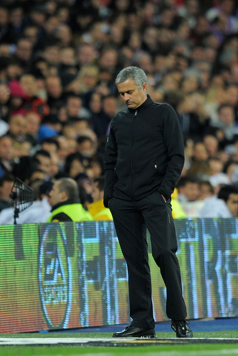 MADRID, SPAIN - MARCH 18:  Real Madrid coach Jose Mourinho reacts during the La Liga match between Real Madrid CF and Malaga CF at Estadio Santiago Bernabeu on March 18, 2012 in Madrid, Spain.  (Photo by Denis Doyle/Getty Images)