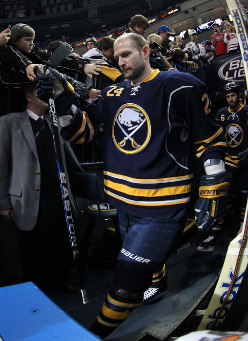 Mar 12, 2012; Buffalo, NY, USA;  Buffalo Sabres defenseman Robyn Regehr (24) before a game against the Montreal Canadiens at the First Niagara Center.  Mandatory Credit: Timothy T. Ludwig-US PRESSWIRE