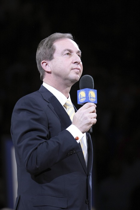March 19, 2012; Oakland, CA, USA; Golden State Warriors owners Joe Lacob waits for fans to stop booing during the half time ceremony to retire the #17 jersey of Chris Mullin at Oracle Arena. Mandatory Credit: Kelley L Cox-US PRESSWIRE