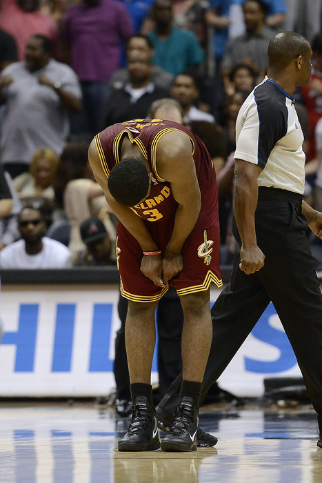 Mar 21, 2012; Atlanta, GA, USA; Cleveland Cavaliers forward Tristan Thompson (13) reacts to loosing to the Atlanta Hawks during overtime at Philips Arena. The Hawks won in overtime 103-102. Mandatory Credit: Paul Abell-US PRESSWIRE