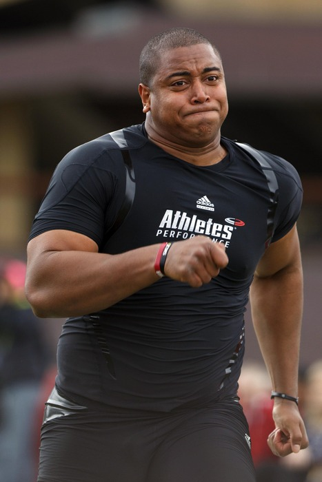 Mar 22, 2012; Stanford CA, USA;  Stanford Cardinal offensive tackle Jonathan Martin during pro day at Stanford Practice Fields.  Mandatory Credit: Jason O. Watson-US PRESSWIRE