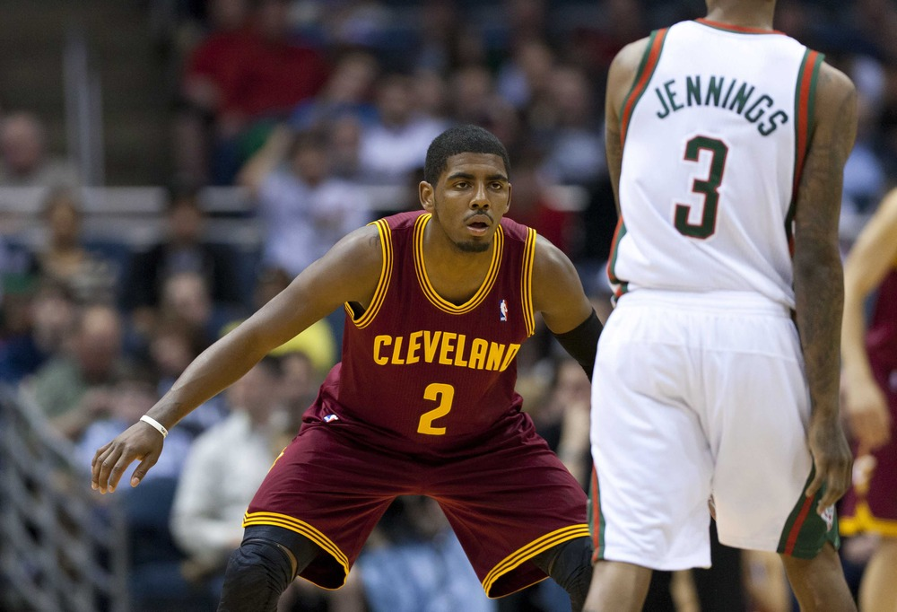 Mar 14, 2012; Milwaukee, WI, USA;  Cleveland Cavaliers guard Kyrie Irving (2) during the game against the Milwaukee Bucks at the Bradley Center.  The Bucks defeated the Cavaliers  115-101.  Mandatory Credit: Jeff Hanisch-US PRESSWIRE