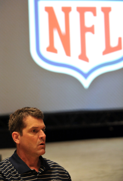 March 28,  2012; Palm Beach, FL, USA; San Francisco 49ers head coach Jim Harbaugh listens to reporters questions during the NFC head coaches media breakfast at the Breakers Hotel. Mandatory Credit: Steve Mitchell-US PRESSWIRE
